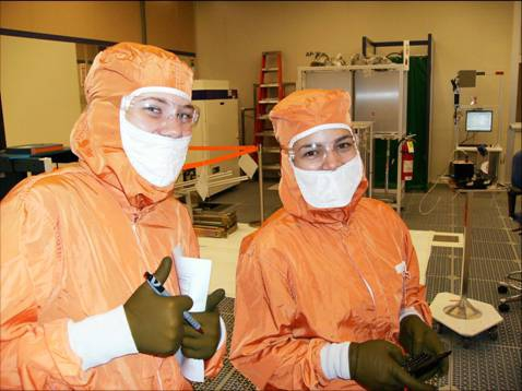 """ChBE grad students in the """"Fab Lab"""" Clean Room"""